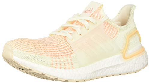 adidas Women's Ultraboost 19 Running Shoe, White/Glow Orange, 10 M US