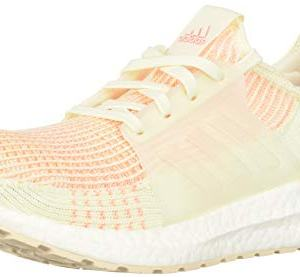 adidas Women's Ultraboost 19 Running Shoe, White/Glow Orange, 10 M US