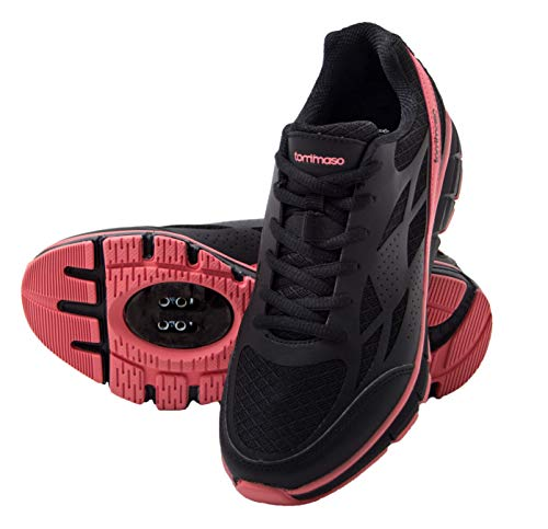 tommaso Venezia Women's Spin Class, Urban Cycling, Road Biking Shoes - 39 Black/Rose