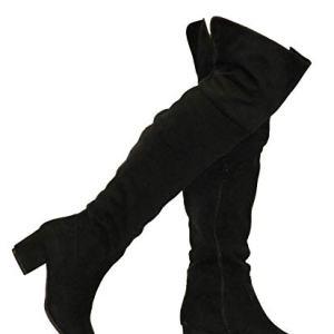 MVE Shoes Women's Over The Knee Stretch Boot - Trendy Low Block Heel Shoe