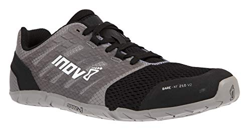 Inov-8 Womens Bare-XF 210 V2 - Barefoot Minimalist Cross Training Shoes - Zero Drop - Wide Toe Box - Versatile Shoe for Powerlifting & Gym - Calisthenics & Martial Arts - Grey/Black 9 W US
