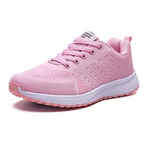 PAMRAY Women's Running Shoes Tennis Athletic Jogging Sport Walking Sneakers Gym Fitness Golf Bright-Pink 35