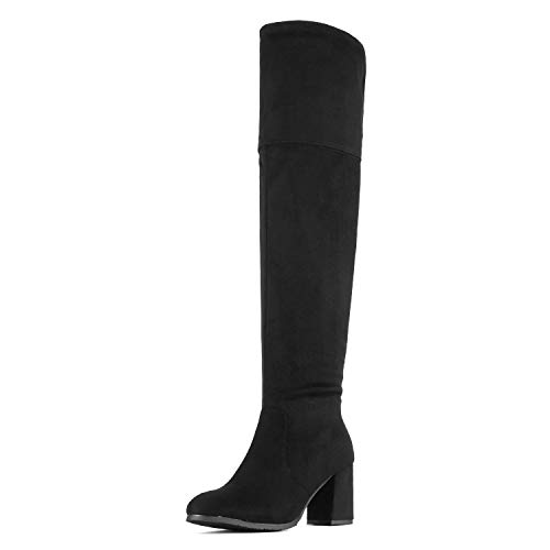 DREAM PAIRS Women's Stretch_High Black Thigh High Block Heel Over The Knee