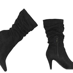 MVE Shoes Women's Pointed Toe High Heel Mid Calf Boots