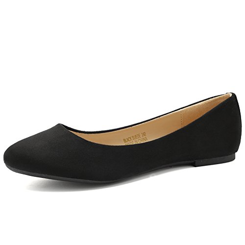 CIOR Women BalletFlats Classy Simple Casual Slip-on Comfort Walking Shoes VPDA1-BlackSuede-254N