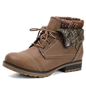 Moda Chics Womens Brown Boots Combat Style Lace-up Ankle Bootie