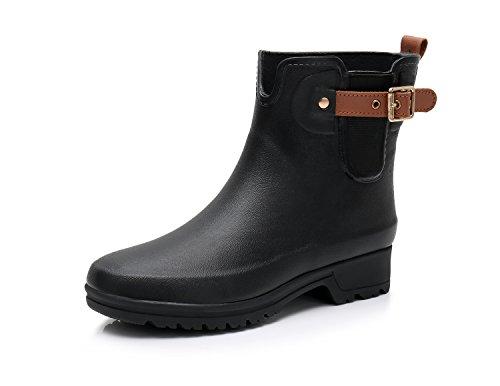 TRIPLE DEER Women's Short Rain Boots Girls Ankle Rubber Chelsea Booties