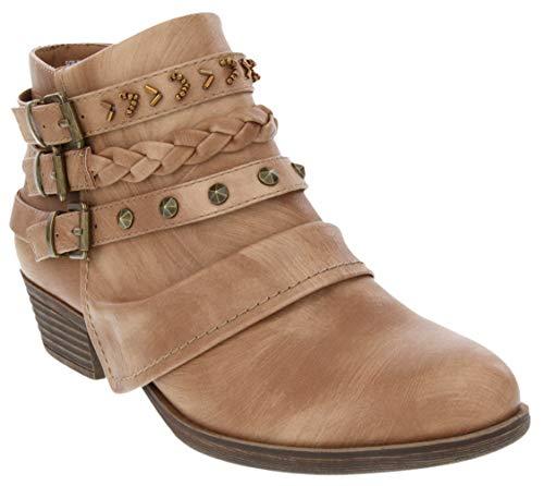 Rampage Women's Tabitha Triple Buckle Ankle Boot Ladies Side Zipper Bootie