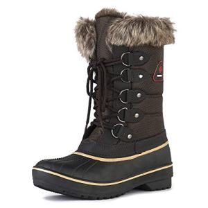 DREAM PAIRS Women's DP-Canada Brown Faux Fur Lined Mid Calf Winter