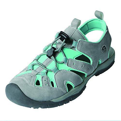 Northside Women's Burke II Sport Sandal, Light Gray/Turquoise