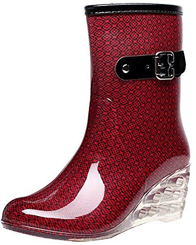 Odema Women's Mid Calf Rain Boots Buckle Side Zipper Wedge