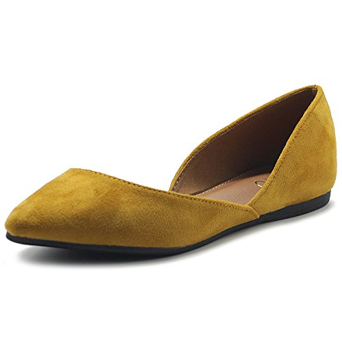 Ollio Women's Shoes Faux Suede Slip On Comfort Light Pointed Toe Ballet