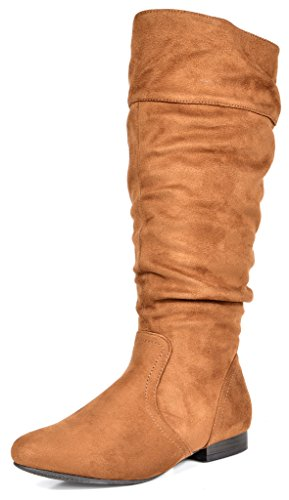 DREAM PAIRS Women's BLVD Tan Knee High Pull On Fall Weather Boots