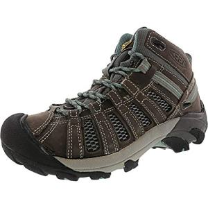KEEN Women's Voyageur Mid Hiking Shoe, Gargoyle/Mineral Blue