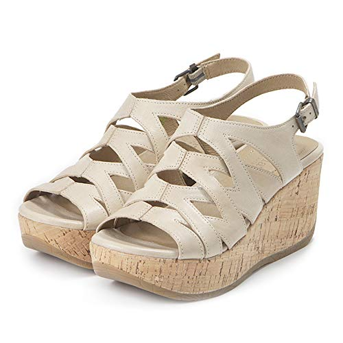 Bussola Ibiza Iris Women's Cage Wedge Sandals,Cut-Out Leather Shoes