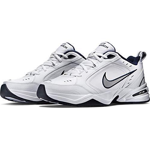 Nike Men's Air Monarch IV Cross Trainer, White/Metallic Silver/Midnight Navy