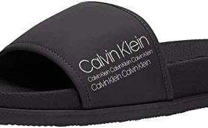 Calvin Klein Men's MACKEE Slide Sandal, Black Rubberized Smooth/Industrial Art