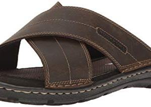 Rockport Men's Darwyn Xband Slide Sandal, Brown Leather