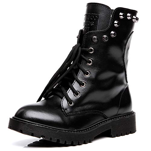 Shenn Women's Round Toe Knee High Punk Military Combat Boots