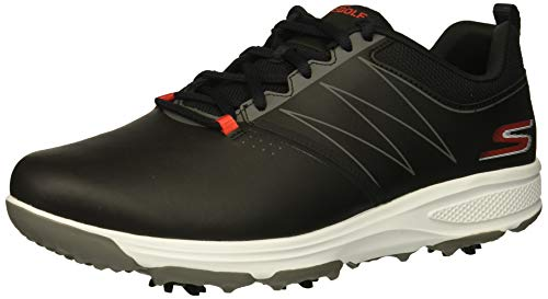 Skechers Men's Torque Waterproof Golf Shoe, Black/red
