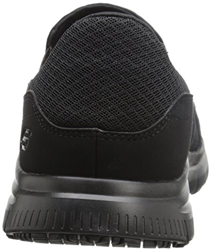 Skechers Men's Black Flex Advantage Slip Resistant Mcallen Slip On  Slip-on shoe work shoe that includes mesh material higher and slip-resistant traction outsole Elastic facet gores at opening Padded collar and strengthened stitched seams. Memory foam insole for cushioning For medium match it maintains medium width within the heel with a roomier toe field. For medium match it is a little more open inside affords a looser match across the whole foot Soft material shoe lining Skechers Men's Black Flex Advantage Slip Resistant Mcallen Slip On - 10.5 D(M) US