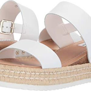 Steve Madden Women's Catia Wedge Sandal White Leather