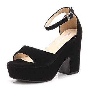 Women's Open Toe Ankle Strap Block Heeled Wedge Platform Sandals