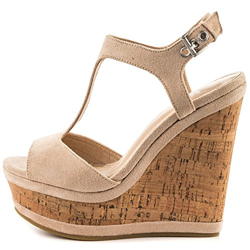 MERUMOTE Women's Wedges Sandals High Platform Open Toe Ankle Strap Shoes