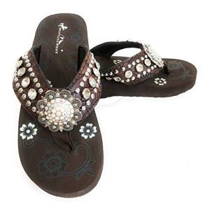 Montana West Women Flip Flops Wedged Bling Sandals Large Floral Concho Coffee