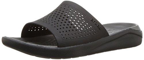 Crocs LiteRide Slide Sandal, Black/Slate Grey
