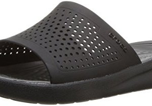 Crocs LiteRide Slide Sandal, Black/Slate Grey