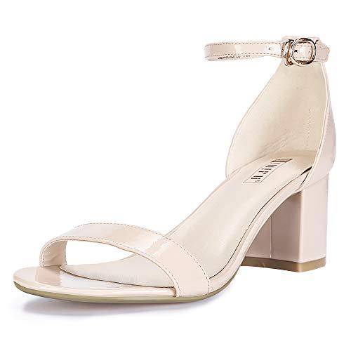 IDIFU Women's IN2 Cookie-LO Low Heel Ankle Strap Dress Pump Sandal (Nude Patent, 6.5 B(M) US)