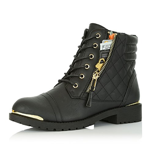 DailyShoes Women's Military Lace Up Buckle Combat Boots Ankle High