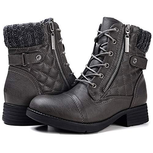 STQ Women Leatherette Sweater Knit Combat Bootie Grey