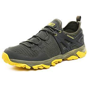 Idea Frames Men Hiking Shoes Lightweight Non-Slip Outdoor Sneaker for Walking Trekking Camping Trail Running Shoe Grey/Yellow