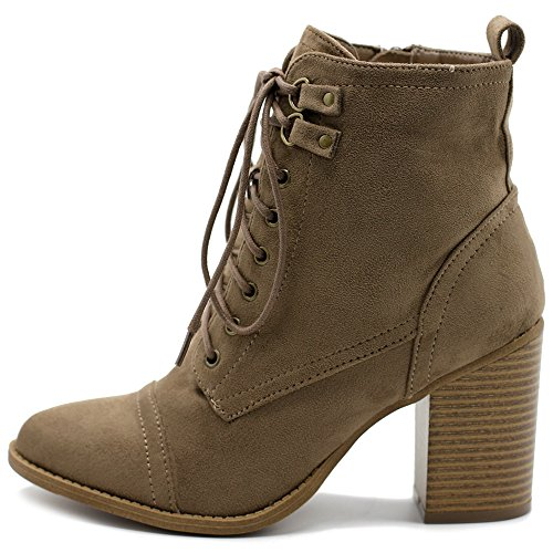 Ollio Women's Shoe Faux Suede Lace Up Stacked High Heel Ankle Boots