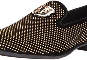 STACY ADAMS Men's Swagger Studded Ornament Slip-On Driving Style Loafer, Black/Gold, 10.5 M US