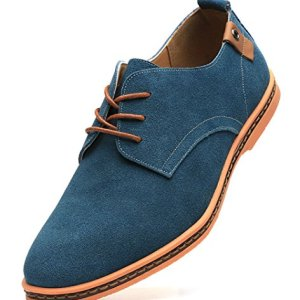 Dadawen Men's Green Leather Oxford Shoe