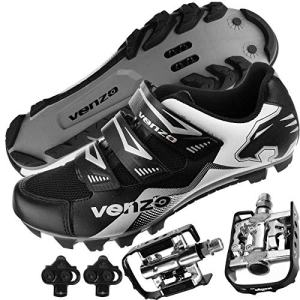 Venzo Mountain Bike Bicycle Cycling Compatible with Shimano SPD Shoes + Multi-Use Pedals 41