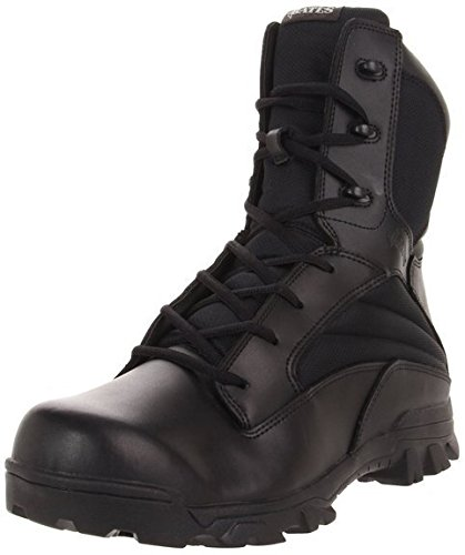 Bates Men's 8 Inch Leather Nylon Side Zip Uniform Boot, Black