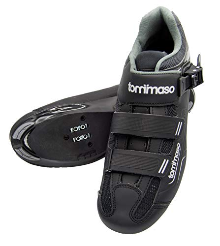 Tommaso Strada 200 Dual Cleat Compatible Road Touring Cycling Spin Shoe with Buckle - 47 Black