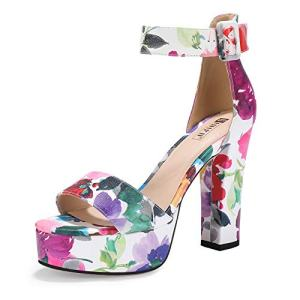 IDIFU Women's IN5 Sabrina Ankle Strap Platform High Chunky Heels Party Sandal (8 M US, Floral Purple)