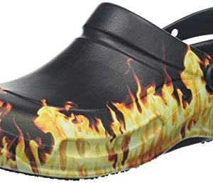 crocs Unisex Bistro Graphic Clog Mule, Black, 10 US Men / 12 US Women