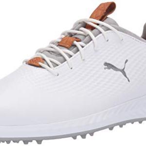 PUMA Golf Men's Ignite Pwradapt Leather Golf Shoe, White