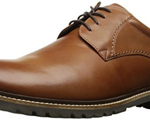 Rockport Men's Marshall Plain Toe Oxford Cognac Leather, 11 W US, 11 W US