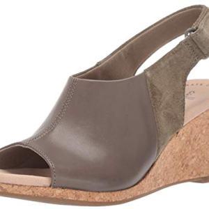 CLARKS Women's Lafley Jess Wedge Sandal, Olive Leather/Suede Combi, 085 W US