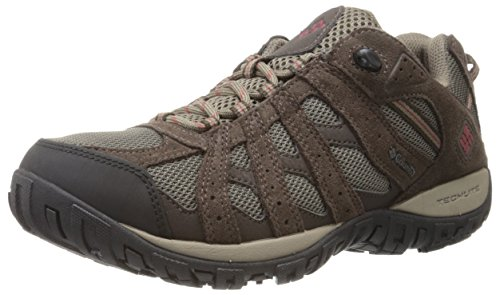 Columbia Men's Redmond Waterproof Hiking Shoe, Mud, Garnet Red, 15 2E US