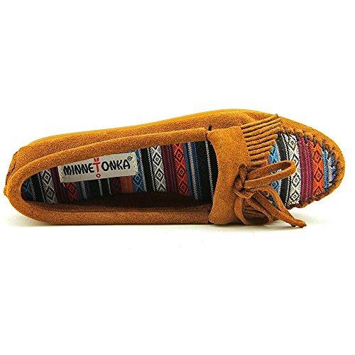 Minnetonka Women's Kilty Suede Moc Brown Suede/Arizona Fabric Slipper 7.5 M