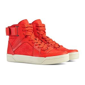 Gucci Men's Nylon Guccissima High-Top Red Sneakers