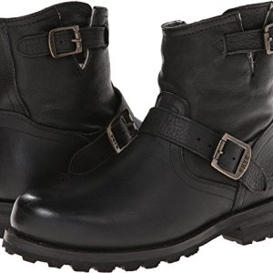 FRYE Men's Warren Engineer Black Tumbled Leather/Shearling